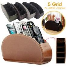 Organizador de cuero sintético con 5 rejillas, caja de almacenamiento con Control remoto de escritorio para teléfono y Tv, soporte para brochas y cosméticos
