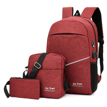 3 pcs USB charging casual backpack fashion men's bag multifunctional backpack Male Leisure Backpack Night Reflective School Bags - Red, China