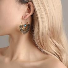 retro style  personality hollow pattern earrings indian jewelry korean fashion stone tassel boho women