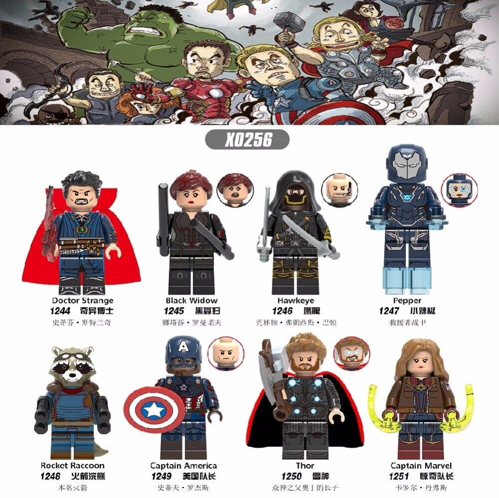 X0256 Super Heroes Building Blocks Avengers 4 Doctor Strange Hawkeye Pepper Thor Black Widow Figures  For Children Gift Toys