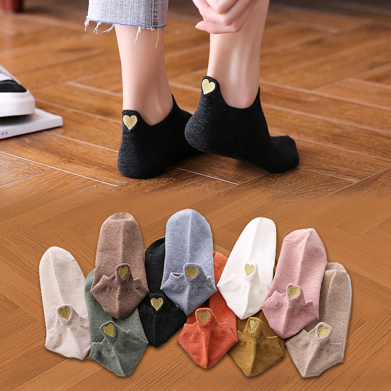Funny Sock Spring Ankle-Girls Novelty Heart Color 4-Pairs Cotton Fashion Woman Cute Casual