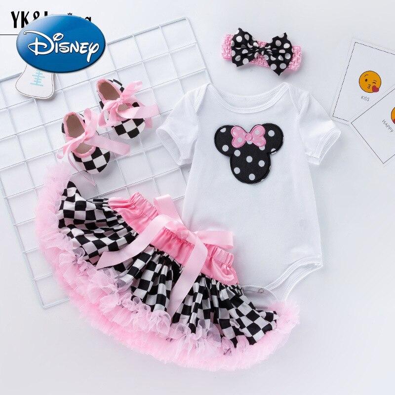Disney Minnie new female baby short-sleeved romper puff skirt suit baby cartoon romper plaid skirt