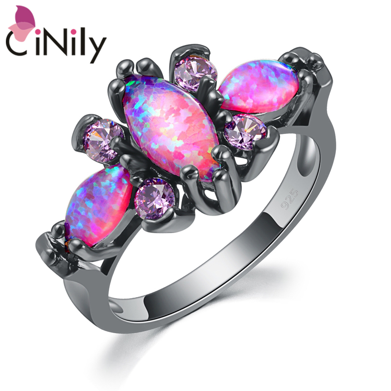 CiNily Pink Big Fire Opal Stone Black Gold Color Ring Ungu Violet Zircon Crystal Butterfly Animal Ring Fashion Jewelry Women