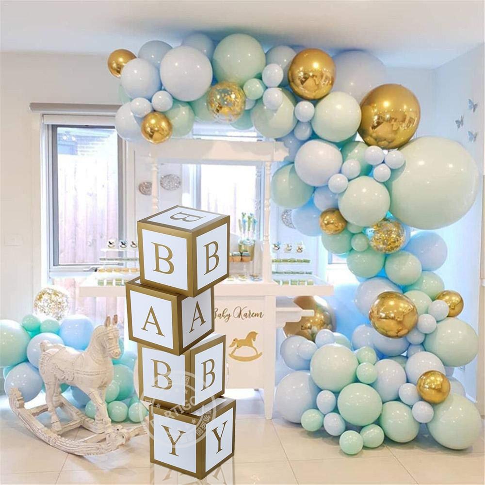 Baby Shower Boy Girl Transparent Box Birthday Party Decoration Balloons Garland Christening Cardboard Baby Box Sweet Love Gifts