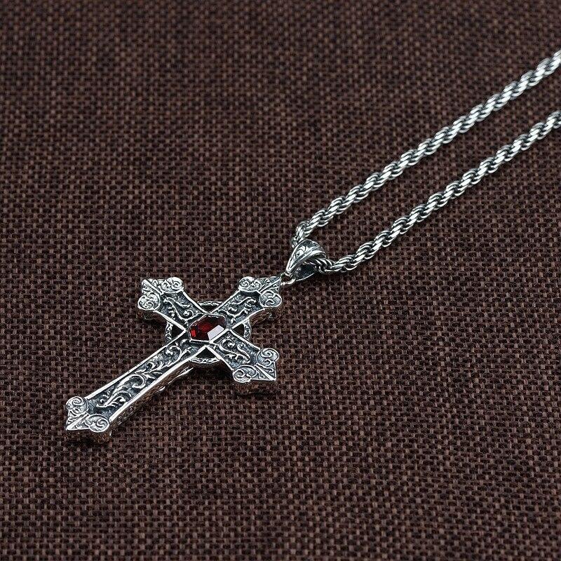 925 argent Sterling croix catholique pendentif vierge marie hommes femmes avec pierre de grenat naturel rétro Punk bijoux religieux - 6