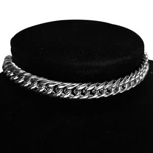 Chain Choker Necklace Jewelry Cuban-Link Stainless-Steel Hip-Hop Silver-Color Thick Men's