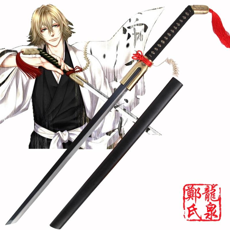 Real Katana Swords For Theme Anime Cosplay Bleach Urahara Kisuke Sword Steel Black Blade Samurai Japanese No Sharp Free Shipping