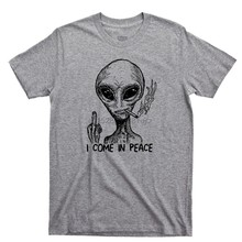 Alien I Come In Peace Extraterrestrial Ufo Area 51 Roswell Spaceship 2019 New Men Summer Style Casual Tee Shirts(China)