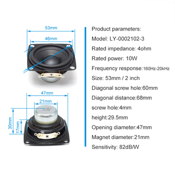 2 Inch Audio Full Range Computer TV Speaker 4 Ohm 10W PC Sound Bluetooth DIY Soundbox 53mm HIFI Music Portable Loudspeaker 2pcs 3