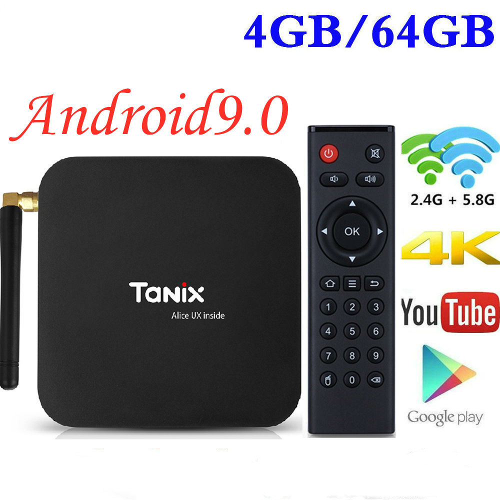 Android 9.0 TV Box TX6 4GB RAM 64GB 5.8G Wifi Allwinner H6 Quad Core Support BT4.1 4K H.265 BT 4.0 Google Player décodeur