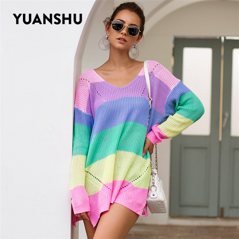 YUANSHU 2019 Autumn Rainbow Striped Sweater Women V Neck Long Sleeve Winter Knitting Pullovers One Shoulder Sexy Female Jumper