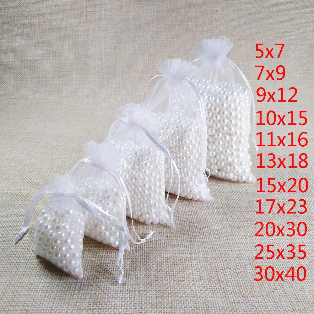 100 шт./лот, белые сумки из органзы на шнурке, 7x9, 9x12, 10x15, 13x18, 15x20 см