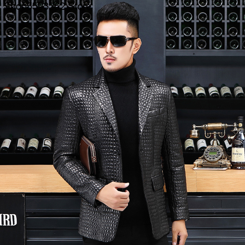 Haining Genuine Leather Leather Coat Sheep Leather Embroidery Crocodile Grain Genuine Leather Suit Men Slim Fit Leather Suit