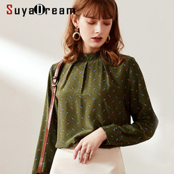 SuyaDream Frauen Gedruckt Stehkragen Blusen 100% Seide Crepe Lange Ärmeln Büro Bluse Hemd 2019 Büro Dame Shirts