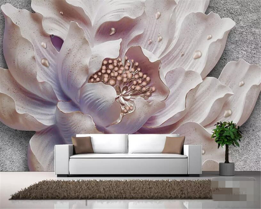Drop Shipping Custom Wallpaper Mural Atmospheric Three-dimensional Relief Peony Flower Sofa Background Wall 3d Wallpaper Behang