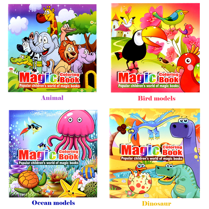 4 Pcs Lot 22 Pages Cute Animal Style Painting Drawing Kill Time