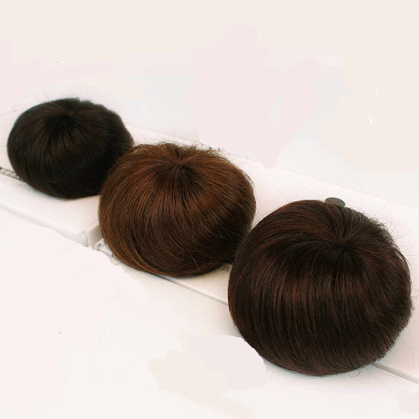 100% insan saçı topuz uzantıları İpli Chignons saç parçası peruk dalgalı kıvırcık dağınık postiş olmayan remy brezilyalı kahverengi renk