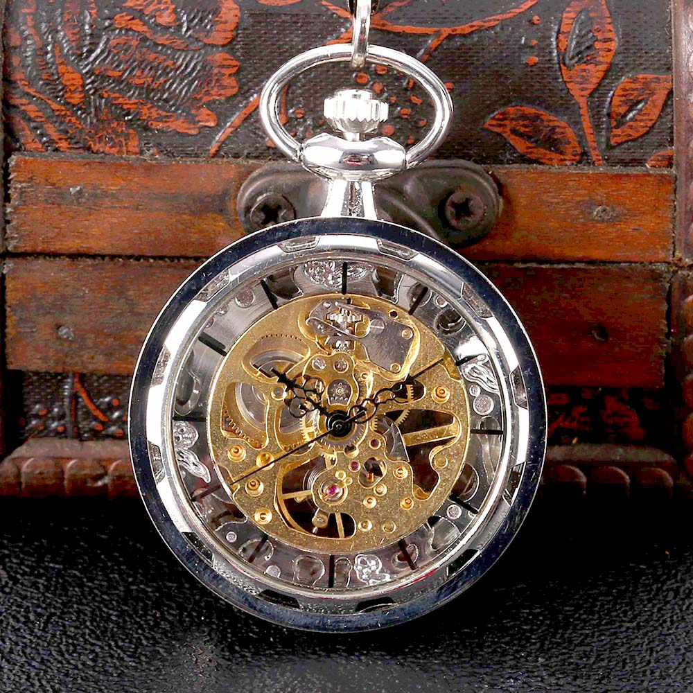 8933Silver Wheel Flip Cover Mechanical Creative Large Pocket Watch Creative Retro Gift Value Exquisite