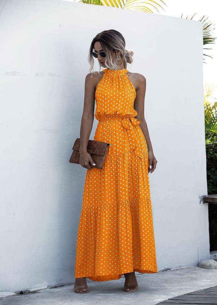 Summer Elegant  beach Women Dress  2020 long Print Flowers Polka-dot strap Ladies Halter boho Dress Vintage party ladies Dress 12