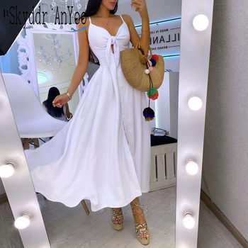 Summer Woman Long Dress Hollow Out Bow White Maxi Dress For Women Split Sexy Party Dresses Spaghetti Strap Slim Elegant Vestido split bow back frilled mixed media dress