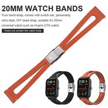 20mm Leather Strap Elegant For Amazfit GTS G Band For 20mm Universal Retro Simple Smart Watch Strap SmartWatch Accessories