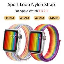 лучшая цена Sport Loop Strap for Apple watch band 4 44mm 40mm correa 42mm 38mm iwatch 3 2 1 bands bracelet breathable wrist belt Accessories