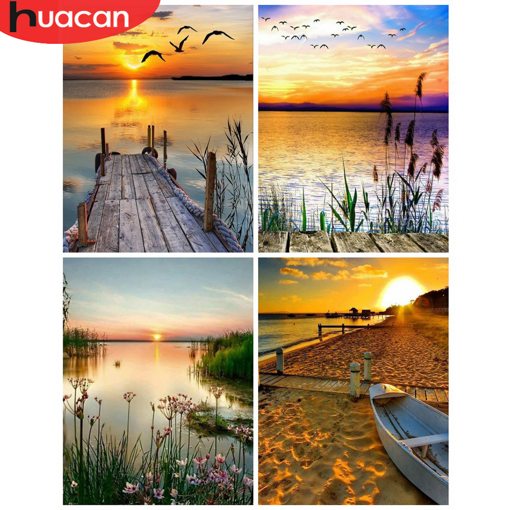 HUACAN Paint By Numbers Sunset Landscape Drawing On Canvas HandPainted Picture Art Kits DIY Gift Home Decoration