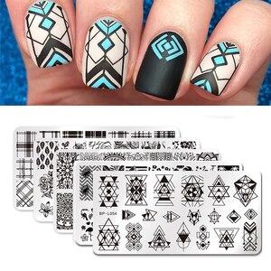 BORN PRETTY Nail Stamping Plates Stamper Scraper Nail Template Flowers Geometric Patterns DIY Nail Designs Stamp Plate