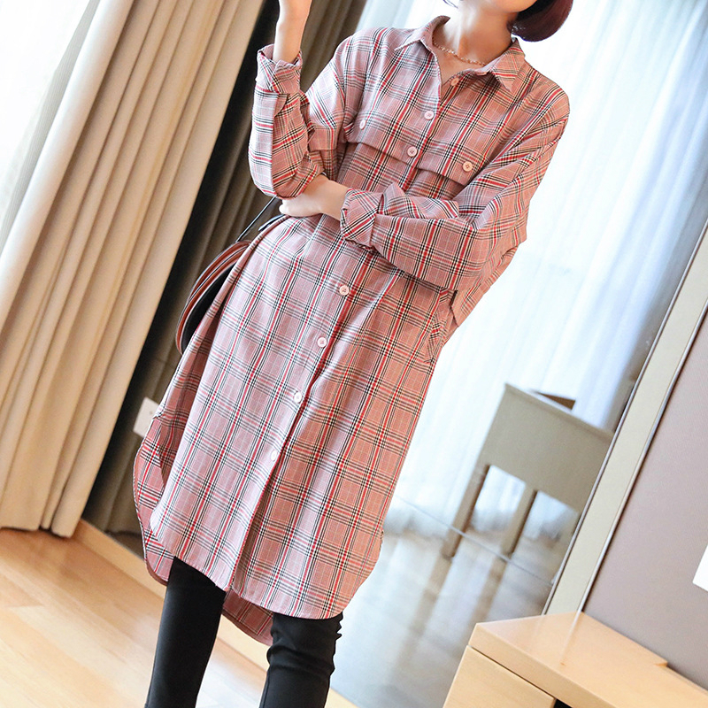 Classique imprimer Plaid rose chemise robe femmes chanteur bouton à manches longues robe longue décontractée femmes marque hiver automne robe femmes