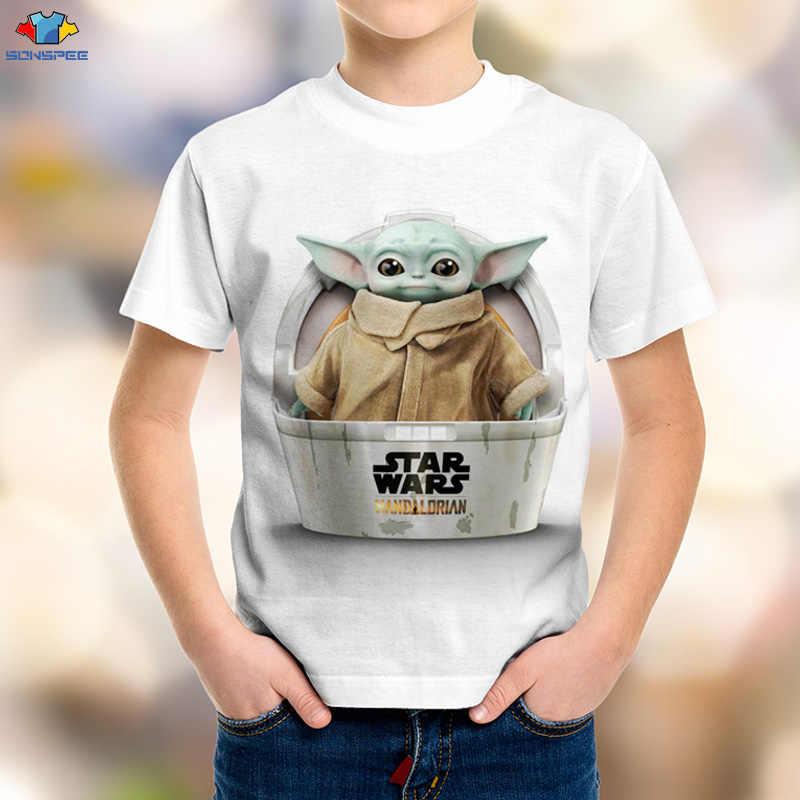 SONSPEE 3D çocuk bilim kurgu film Star Wars çocuklar T-Shirt uzay savaş mandaloryalı erkek gömleği Kawaii Yoda bebek çocuk üst