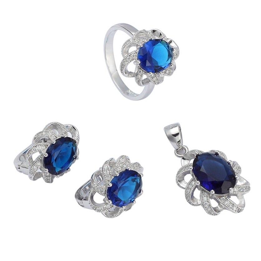 Eulonvan vintage 925 en argent sterling de luxe femmes ensembles de bijoux de mariage (bague/boucle d'oreille/pendentif) bleu foncé zircon cubique S-3701set