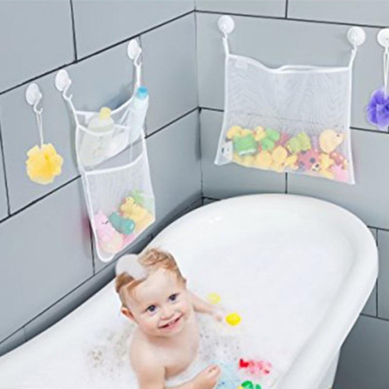 Baby Bath Toy Organizer Massive Baby Toy Storage Bin Quick Dry Storage Net + Lock Tight Suction Cups & Stickers Hooks