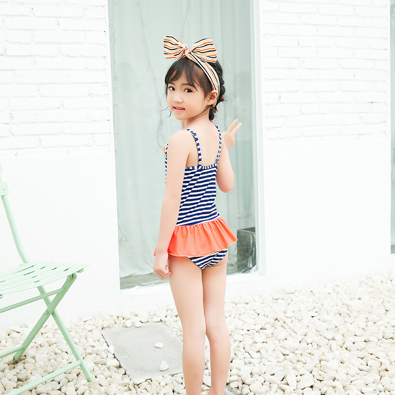 Summer KID'S Swimwear GIRL'S One-piece Swimming Suit Stripes Camisole Short Skirt Seaside Hot Springs Play With Water Service Sw