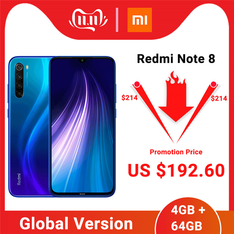 "Global Version Xiaomi Redmi Note 8 4GB 64GB Smartphone Snapdragon 665 Octa Core 48MP Quad Rear Camera 6.3"" 4000mAh Cell Phone"