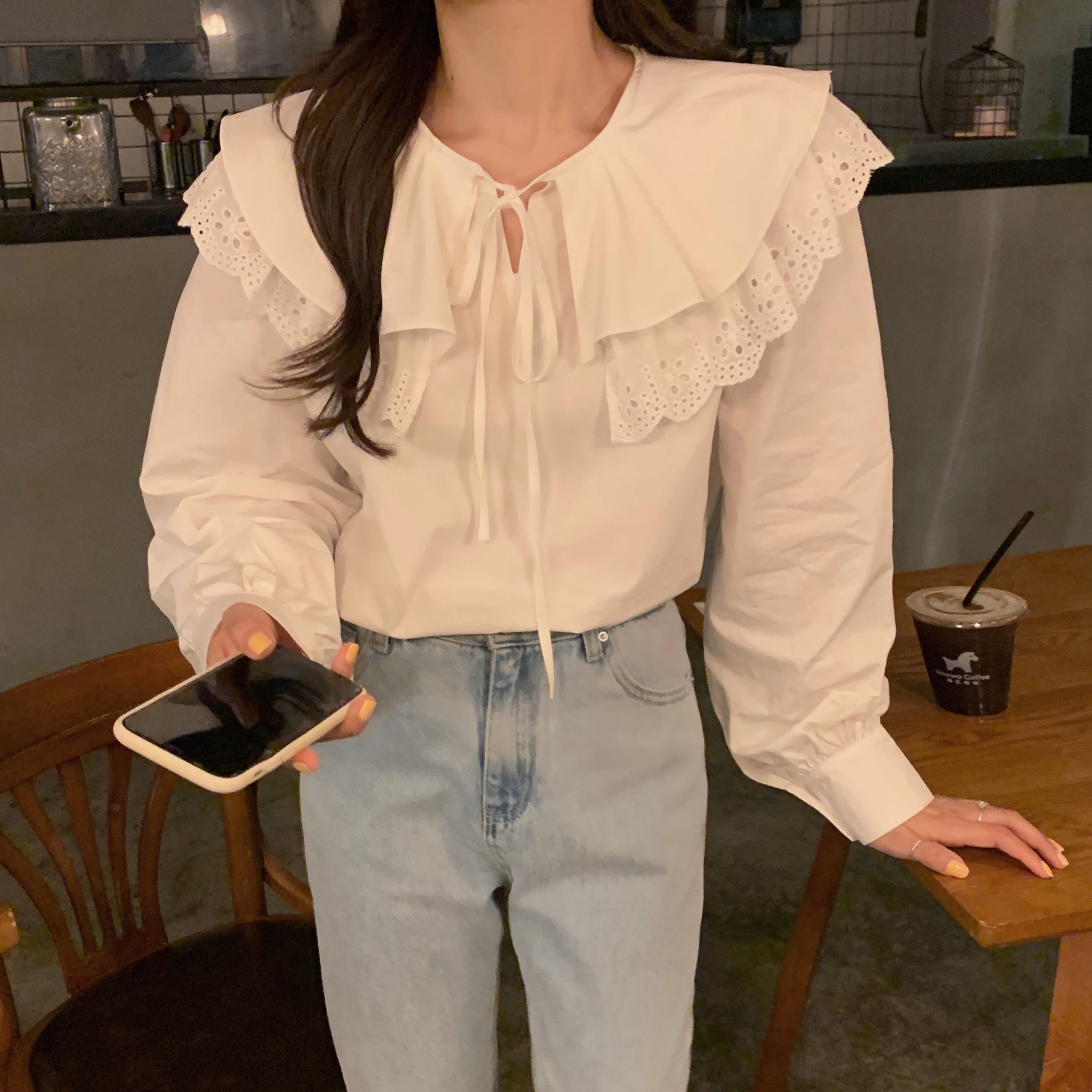 H8d1231636a9342f79b96d3ab2ca27b72q - Spring / Autumn Korean Lace-Up Hollow Out Collar Long Sleeves Loose Solid Blouse