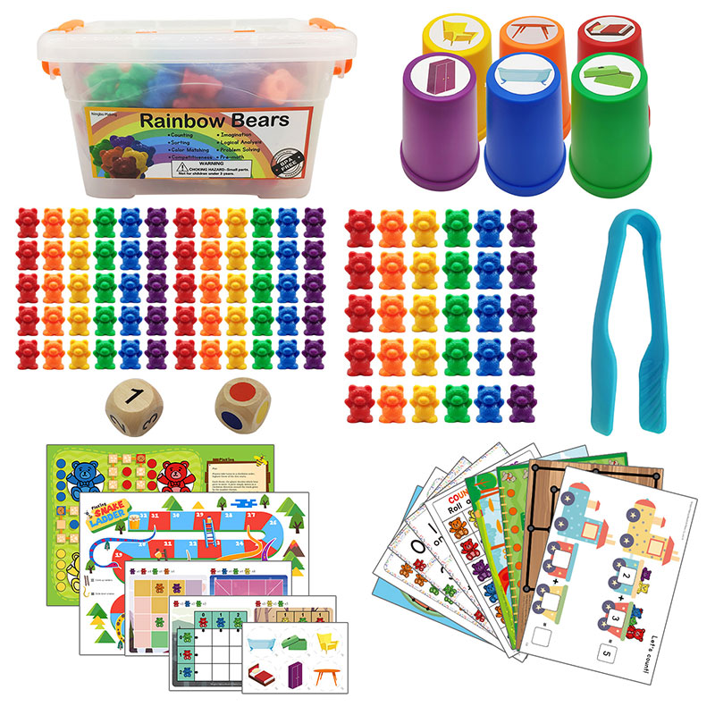 Children Montessori Toy 1 set Boxed Counting Bear Montessori Educational Cognition Rainbow Matching Game Educational Toys Gifts