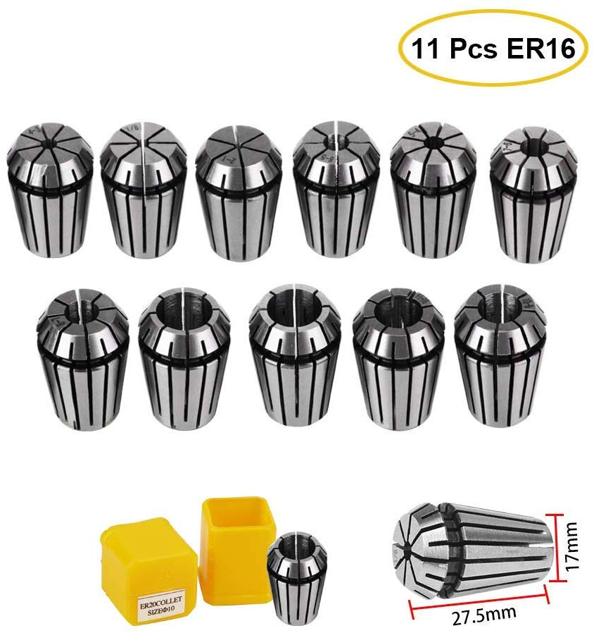 11Pcs Precision Collet ER16 1-10MM Spring Collet For CNC Milling Lathe Tool Engraving Machine Spring Collet Chuck ER16