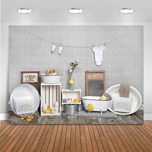 Image 2 - خلفية لغرف الحلاقة للأطفال ، عيد الميلاد الأول ، استحمام الطفل ، صورة كعكة تحطيم التصوير ، خلفية البط ، الأرض الخشبية ، استوديو الصور