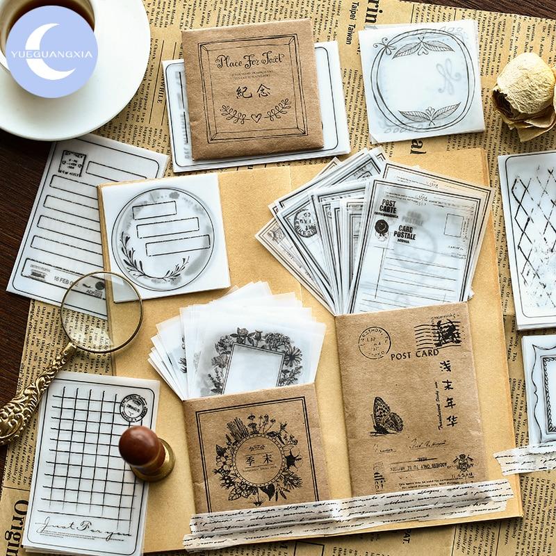 YUEGUANGXIA 30 Pcs 8 Designs Lattice Flower Pattern Transparent Litmus Paper Envelope Gift In Party Wedding Korean Stationery
