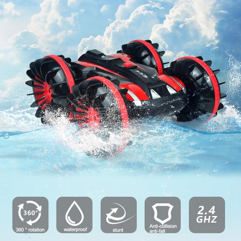 360 Поворот Rc автомобили дистанционное управление Управление Stunt автомобилей 2 кристалла по бокам Водонепроницаемый вождения на воде и земле амфибия электрические игрушки для детей 2