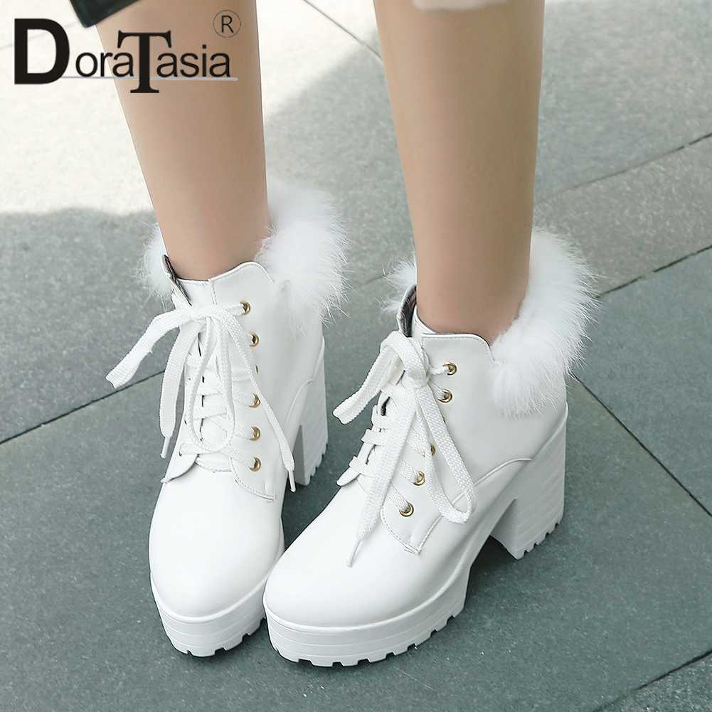 DORATASIA 34-43 ยี่ห้อใหม่ Lace Up สุภาพสตรีรองเท้าส้นสูงรองเท้าผู้หญิง PARTY Office ฤดูใบไม้ร่วงฤดูใบไม้ร่วงฤดูหนาวรองเท้าผู้หญิง