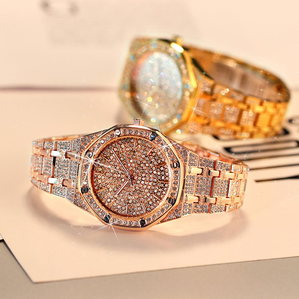 Купить часы наручные мужские с золотистыми блестками модные роскошные