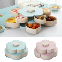 Plastic Rotating Trays Box for Christmas Fruit Double Layer Snack Candy Plates Petal-shape Dried Storage Organizer