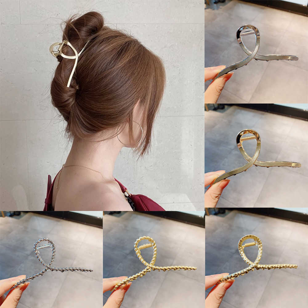 Ruoshui Woman Metal Hair Claws Hair Accessories Chic Barrettes Hairclips Hairpins Ladies Hairgrip Headwear Girls Ornaments Crab