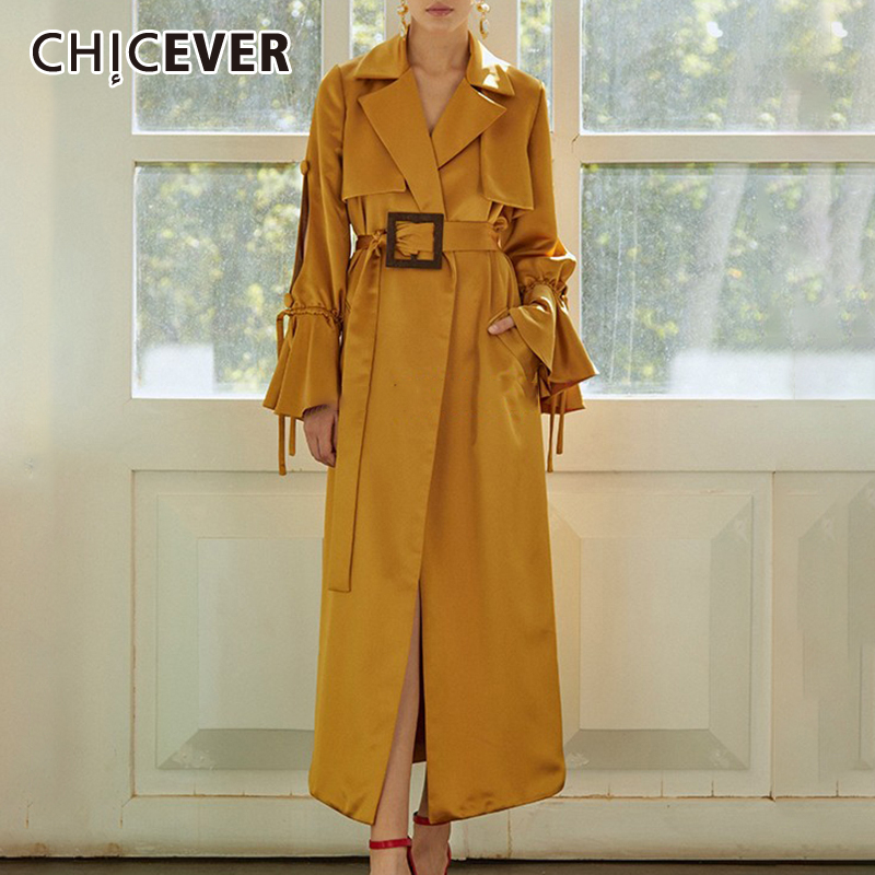 CHICEVER Hollow Out Women's Windbreaker Lapel Collar Drawstring Flare Sleeve High Waist Sashes   Trench   Coat Female 2019 Autumn