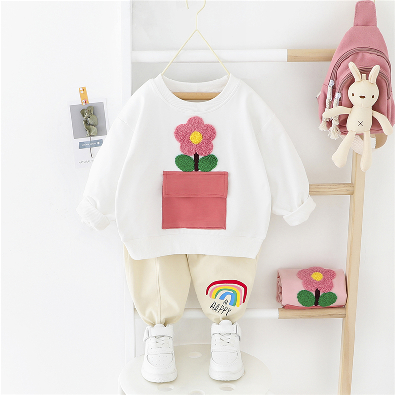 HYLKIDHUOSE 2020 Spring Baby Girls Clothing Sets Toddler Infant Clothes Flowers T Shirt Pants Fashion Children Vacation Clothing