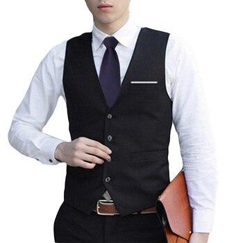 Fashion Men V neck Formal Business Waistcoat Vest Suit Slim Fit Tuxedo Casual Dress Coat Gilets