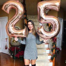2 pçs 32/40 big number tamanho grande número 25 anos de idade folha balões de hélio adultos festa de aniversário de ouro rosa decoração suprimentos