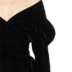Image 4 - TWOTWINSTYLE Sexy Party Dress dla kobiet Off Shoulder V Neck bufiaste rękawy sukienki z wysokim stanem kobieta 2020 moda jesień nowy