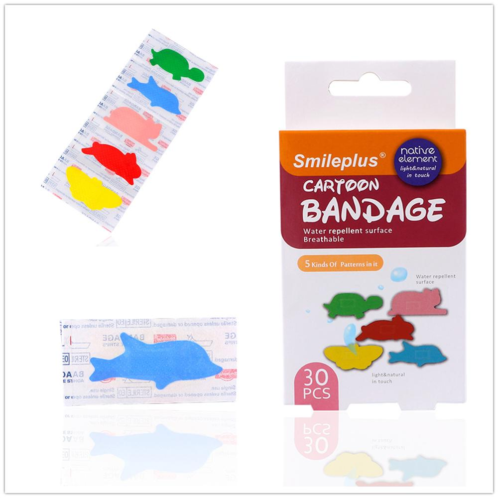 30pcs/pack Cute Waterproof Cartoon Animal Children Bandage Wound Emergency Anti-Bacterial Dressing Band-Aids High Quality